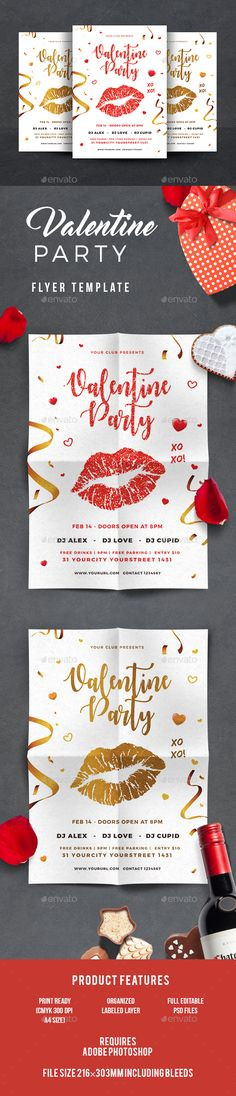 #Valentines #Flyer - Events Flyers Download here:  https://graphicriver.net/item/valentines-day-flyer/19333473?ref=alena994