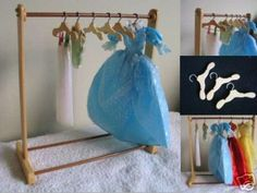 Handmade Wood Wooden Barbie Blythe Doll Clothes Display Rack 8 Hangers Set | eBay
