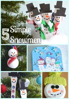 Fun and easy ideas to create snowman crafts with kids. Inexpensive and simple, these snowmen are too cute! I especially love the lollipop class gift option, so inexpensive for a big group. Winter Fun, Winter Theme, Winter Christmas, All Things Christmas, Primitive Christmas, Country Christmas, Spring Crafts, Holiday Crafts, Fun Crafts