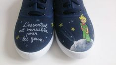 """Hand painted kid sneakers, GLow in the dark. Little Prince """"What is essential is invisible to the eye"""". >>> https://www.etsy.com/es/listing/230672777/zapatillas-nino-pintadas-a-mano-brillan?ref=shop_home_active_1&langid_override=0"""