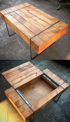 Easy & Free Plans to Build a DIY Coffee Table - Couchtisch Unique Coffee Table, Diy Coffee Table, Coffee Table Design, Diy Table, Wood Table, Coffee Table From Pallets, Metal Wood Coffee Table, Homemade Coffee Tables, Design Table