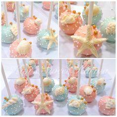 New Ideas For Cake Pops Wedding Frostings Wedding Cake Pops, Floral Wedding Cakes, Fall Wedding Cakes, Mermaid Cake Pops, Mermaid Cakes, Beach Cake Pops, Sea Cakes, Cake Decorating Tutorials, Savoury Cake