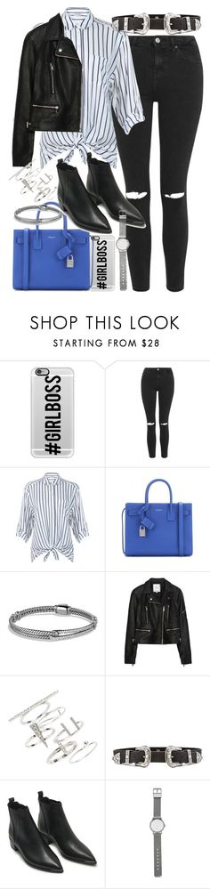 """Outfit with a striped blouse and blue handbag"" by ferned ❤ liked on Polyvore featuring Casetify, Topshop, Miss Selfridge, Yves Saint Laurent, David Yurman, Zara, B-Low the Belt, Acne Studios, Witchery and women's clothing"
