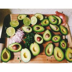 Avocado, onion, coriander and lime - would make a nice salad.