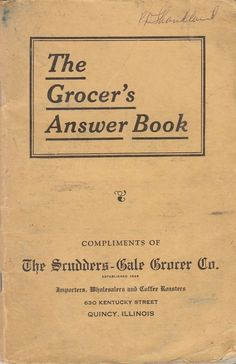 1933 The Grocer's Answer Book Scudders-Gale Grocery Company Quincy IL Illinois
