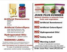 READ VITAMIN LABELS! We give our kids supplements to make them healthy....not toxic! Juice Plus is FOOD ~ Real, concentrated fruits & veggies in a capsule or delicious gummy & if your child ate the entire bag, you would not need to take him to the ER to have his tummy pumped (since it's just fruits & vegetables), yet you would IMMEDIATELY need to If he ate too many synthetic man made vitamins! Makes sense, doesn't it?  For additional info contact me at: tracyirwin.juiceplus.com