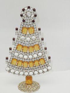 Vintage Czech Amber Mantle Christmas Tree #212