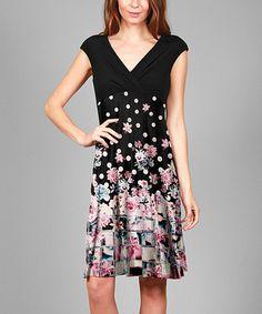 Black Floral Polka Dot Empire-Waist Dress #zulily #zulilyfinds