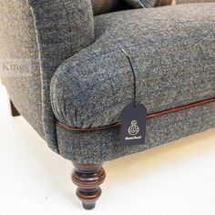 Tetrad Harris Tweed Braemar Sofa In Winter Chexk and Chianti Hide with Golden Globe www.kingsinteriors.co.uk/brands/tetrad-harris-tweed