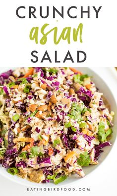 This Asian chopped salad is loaded with fresh veggies and tossed with a creamy almond dressing. You'll love the crunch and flavor! Dairy-free, gluten-free, paleo and low-carb.