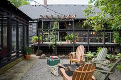 Schoolhouse Living: Ben Carstensen's Fort-like Bungalow in Northeast Portland Outdoor Rooms, Outdoor Furniture Sets, Outdoor Decor, Outdoor Living, Outdoor Trees, Outdoor Life, Garage Conversion Cost, Garage Conversions, Pollo Tropical