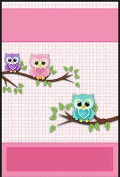 Buhos 5 Owl Wallpaper, Hello Kitty Wallpaper, Owl Clip Art, Owl Art, Baby Girl Quilts, Girls Quilts, Decoupage Vintage, Baby Scrapbook, Scrapbook Paper
