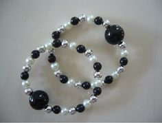 """Black & White Sparkle"" travel sickness bracelets $19.95"