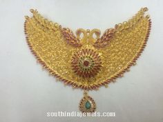Gold Peacock Ruby Choker Necklace