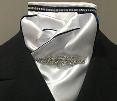 Navy and silver diamante Satin stock www.equestrianstockandpin.com.au