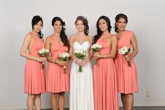 Henkaa convertible bridesmaid dresses and long gown in Peach-Pink Coral and Pure Ivory. Henkaa Convertible style. Order at us.henkaa.com/karib and use stylist ID 1026