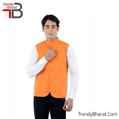 Sparkle the traditional look with this Orange Nehru Jacket this season. #Retro #Betrendy