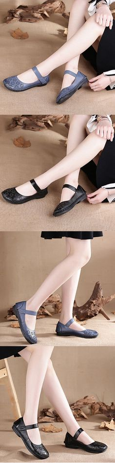 SOCOFY Mary Jane Original Hollow Out Hook Loop Soft Flat Vintage Shoes