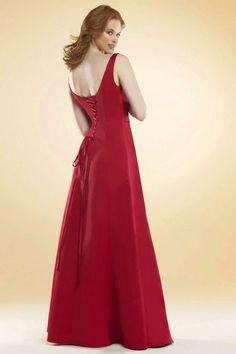 V Neckline Floor Length Satin Red  Dress for Bridesmaid