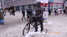 Poznan day 17; cool guy with a bike; he is stuck in snow