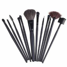 Popular sale 12 PCS Professioal Makeup Brush Set with Black Leather Case by skyful01. $17.89. Soft leather bag, easy to collect and carry brushes.. Suitable for professionals also DIY users with great use. Provides superb ability to hold powerder. Adopts natural pure goat hair. Soft and pleasing for your skin. 1 complete set of make up bruses with 12pcs. Very popular and good feedback. Don't miss it, get it and makeup beauty easily.  Features: Total 12 brushes for faci...