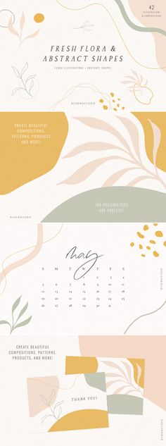 Fresh Flora & Abstract Shapes is a collection of hand drawn flora illustrations + abstract sha… – Best Friends Forever Web Design, Book Design, Layout Design, Shape Design, Texture Design, Packaging Design, Branding Design, Bff Drawings, Logo Shapes