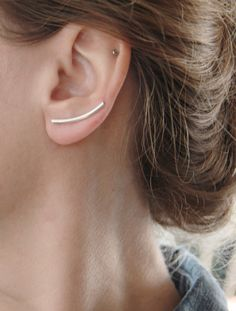 Curved Bar Ear Pin  Ear Climber  Ear Cuff  by tothemetal on Etsy