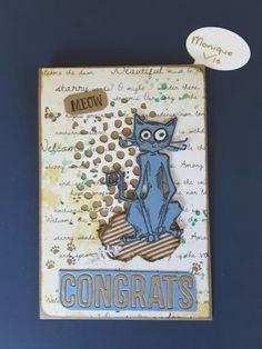 Kaart met Tim Holtz grazy cats, thinlits mixed media #1 en celebration words: Block van Monique Vis