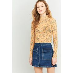 Cooperative by Urban Outfitters Urban Outfitters Dark Yellow Floral... ($30) ❤ liked on Polyvore featuring tops, dark yellow, long sleeve mesh top, long sleeve turtleneck, floral tops, long sleeve crop top and yellow turtleneck