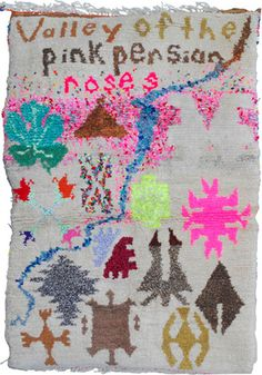by Terra Fuller   Valley of the Pink Persian Roses carpet   hand-spun sheep wool, dyed with henna, pomegranate peels and walnut husks, old clothes, thread