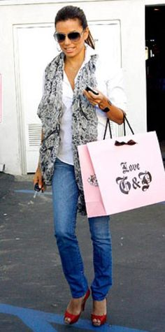 Look of the Day › November 27, 2009 WHAT SHE WORE Longoria Parker added fun accessories to her jeans and white shirt: Dior sunglasses, platform Louboutins, an animal-print scarf and a Texas necklace by Maya Brenner WHERE Leaving Juicy Couture in Beverly Hills