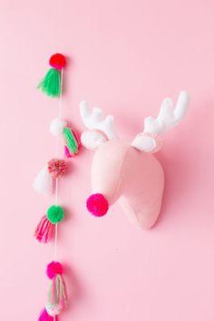 DIY Plush Reindeer Head   studiodiy.com Santa And His Reindeer, Reindeer Head, Pink Christmas Tree, Christmas Diy, Christmas Is Coming, Christmas Tree Decorations, Xmas, Christmas Ornaments, Christmas 2019