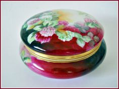 LIMOGES Dresser/Vanity Box - Victorian Antique Hand Painted Porcelain