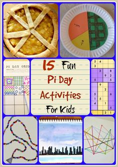 15 Fun Pi Day Activities for Kids including baking a pie, making a beaded necklace and drawing a skyline. Great STEM and STEAM activities for children of all ages.