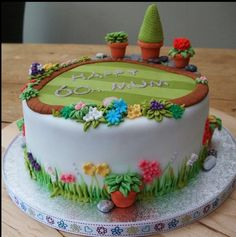 Birthday Cake Ideas For Grandma Website 41 Ideas For 2019 Garden Theme Cake, Garden Birthday Cake, Garden Cakes, 70th Birthday Cake For Women, 90th Birthday Cakes, Birthday Desserts, Birthday Recipes, Sewing Cake, Dad Cake