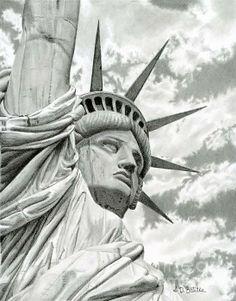 Title  Lady Liberty    Artist  Sarah Batalka   Medium  Drawing - Graphite Pencil On Bristol Board
