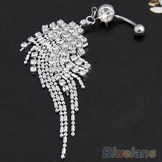 Silver Plated Crystal Tassel Dangle Navel Belly Button Ring Bar Piercing 0002 01B2