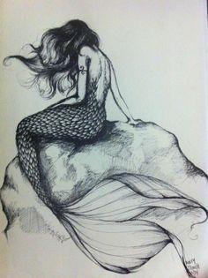 Sketch. pretty mermaid girl. :)