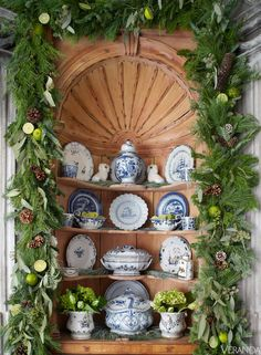 blue & white porcelain surrounded by greenery