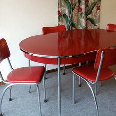 Vintage Red Retro Table and Chairs Reminds me of my Grandmas Kitchen. {oh how i miss her...} luv-u gram
