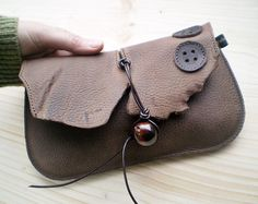 Handmade Leather clutch Purse Bag WILD OAK antiqued by Fairysteps