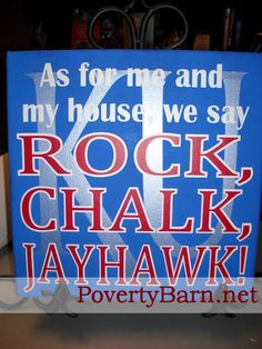 $25 University of Kansas Jayhawks Spirit canvas art.  Available now in our brand new Etsy Shop!