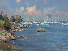Monterey Marina Thomas Kinkade Art, Thomas Kincaid, Kinkade Paintings, Art Thomas, Artist Life, Norman Rockwell, Ocean Beach, American Artists, All Art