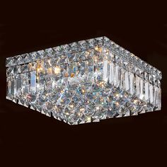 This stunning 4-light Ceiling Light. Featuring a radiant chrome finish and finely cut premium grade crystals. Measures 12 inches by 12 inches and 5.5 inches of height.