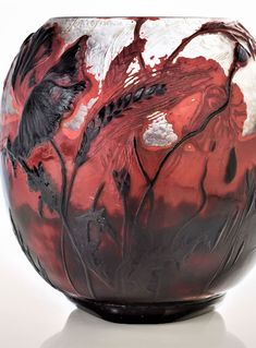 "ÉMILE GALLÉ (1846-1906) A 'Coquelicot, blé et avoine' Verrerie Parlante Vase, 1899 the body of swollen triangular section, overlaid, acid-etched and wheel carved with corn and poppies, upper portion with martelé, the lower fire-polished 7 ¼ in. (18.4 cm.) high engraved Gallé, IX Sept exposit 1899 Exposit 1900, paper label E+G; cameo Le Seigneur fera germer la Justice et l'honneur parmi toutes les nations IS. XL. 20. ""...the Sovereign Lord will make righteousness and praise spring up before… Vase, Righteousness, Serving Bowls, Poppies, Carving, Tableware, Joinery, Dinnerware, Wood Carvings"