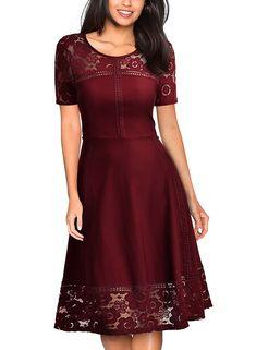 Amazon.com: MissMay Women's Vintage 1950s Floral Lace Contrast Elegant Cocktail Swing Dress Wine Red Medium: Clothing