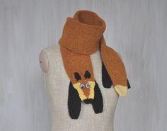 Red fox — handmade soft scarf, animal scarf, fox, brown scarf, brown black, crochet scarf, knitted scarf, OOAK