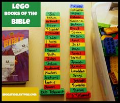 Lego Books of the Bible Game...using dry erase markers on legos to put them in order...could use this for sooo many other things! City/States, Verses, or memorizing just about anything! Will be doing this year!