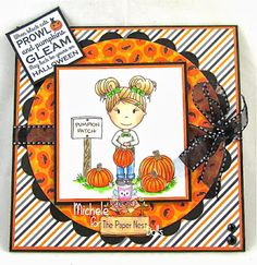 Pumpkin Patty  made by Paper Nest Dolls Rubber Stamps & sold individually. Items can be purchased in my ebay Store Pat's Rubber Stamps & Scrapbooks or call me 423-357-4334 with order, or come by 1327 Glenmar Ave. Mt Carmel, TN 37645, Pat's Rubber Stamps & Scrapbook supplies 423-357-4334. We take PayPal. You get free shipping with the phone orders of $30.00 or more