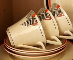 Doulton deco: Tango earthenware tea duos, Orange colourway - abstract geometric design with black and orange highlights on cream ground and black trim. Art Deco Decor, Art Deco Home, Art Deco Design, Art Nouveau, Blog Art, Design Movements, Deco Furniture, Arts And Crafts Movement, Ceramic Clay